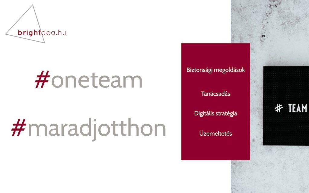 Brightdea Solutions Kft. Tájékoztatás, oneteam, maradj otthon, Képzés, Oktatás, Információbiztonság - Digitalizáció - COVID19, Adatvédelem